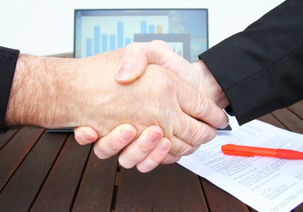 company, shaking hands, businessman